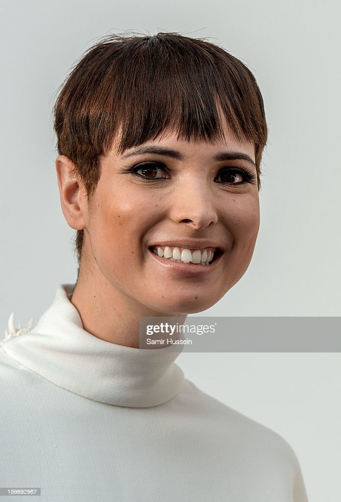Hanaa Ben Abdesslem poses backstage at the Stephane Rolland Spring/Summer 2013 Haute-Couture show as part of Paris Fashion Week at Palais De Tokyo on January 22, 2013 in Paris France.
