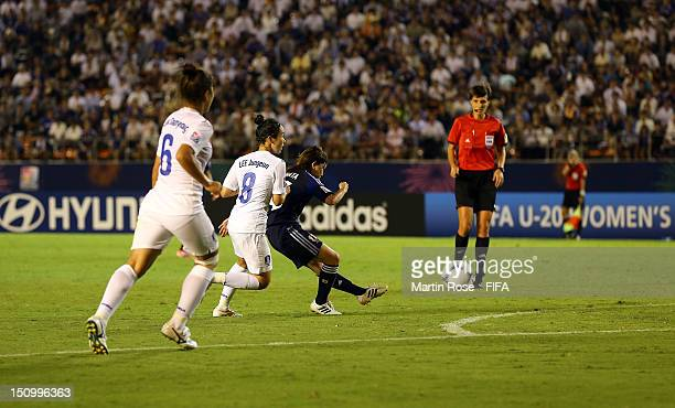 Hanae Shibata of Japan scores her team's 2nd goal during the FIFA U20 Women's World Cup Japan 2012 Quarter Final match between Japan and Korea...