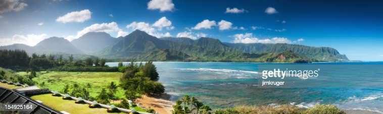 Hanalei bay and Emerald Mountains Pano, Kauai, Hawaii.
