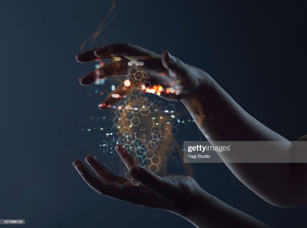Hand access energy connections : Stock Photo
