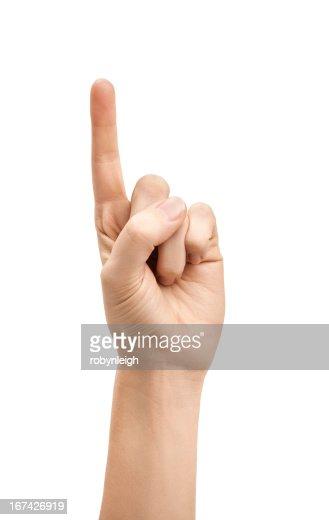 Mão contra o Fundo Branco : Foto de stock