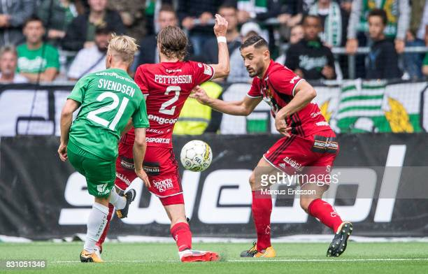 Hand ball on Sotirios Papagiannopoulus of Ostersunds FK during the Allsvenskan match between Hammarby IF and Ostersunds FK at Tele2 Arena on August...