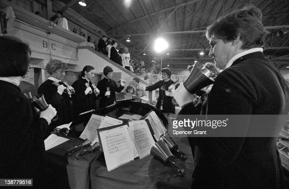 Hand bell players perform at Boston College in Chestnut Hill Boston Massachusetts 1972