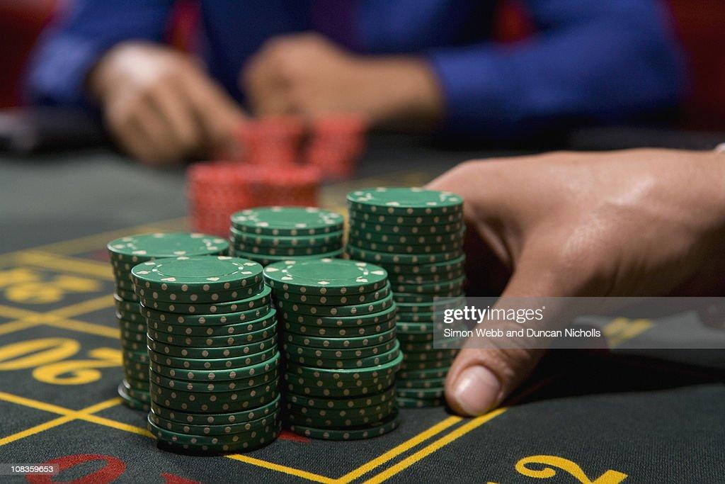 Hand betting gambling chips