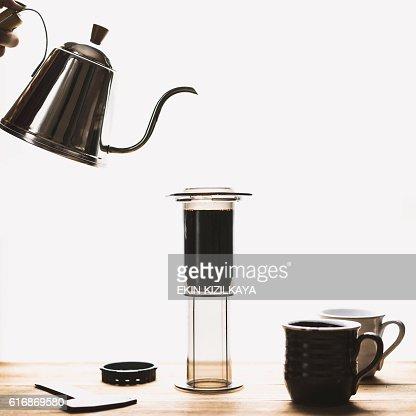 Hand brewing coffee : Stock Photo