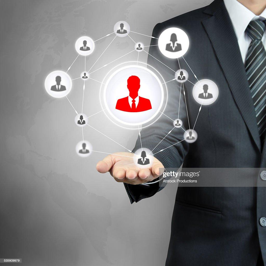 Icono de red de mano de los empresarios de transporte : Foto de stock