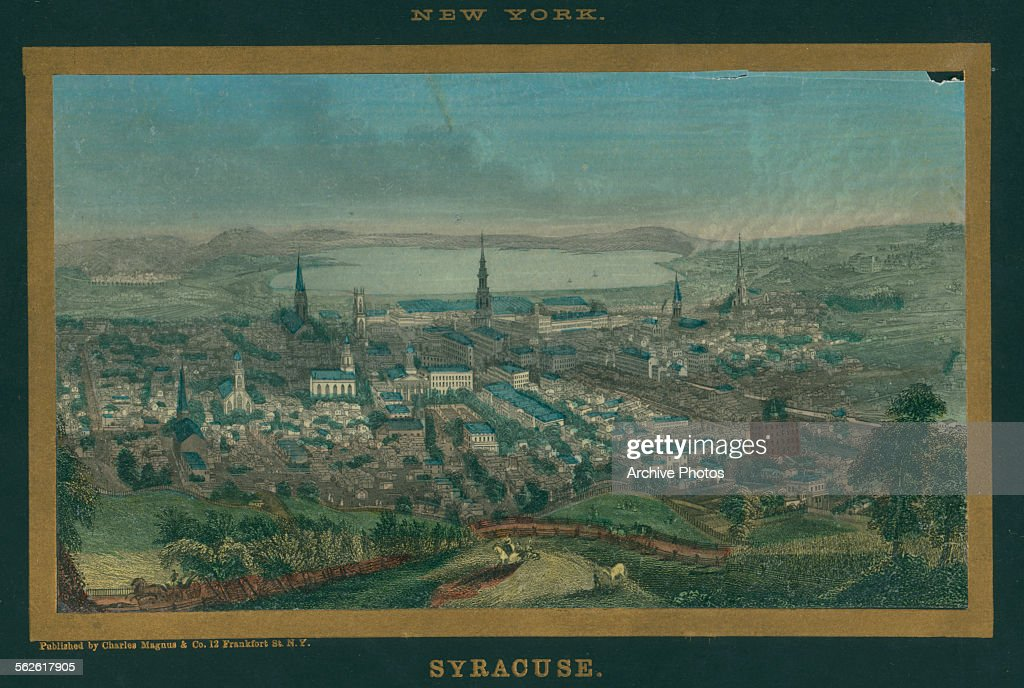 Hand color print of a birds eye view of Syracuse New York circa 1850