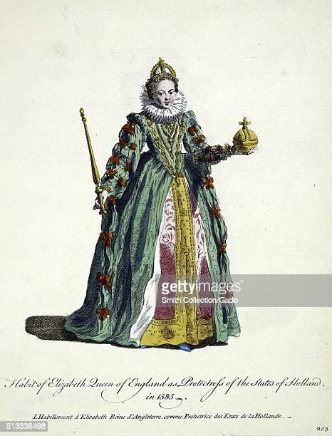 Hand colored engraved portrait of Elizabeth Queen of England titled 'Habit of Elizabeth Queen of England as protectoress of the states of Holland...