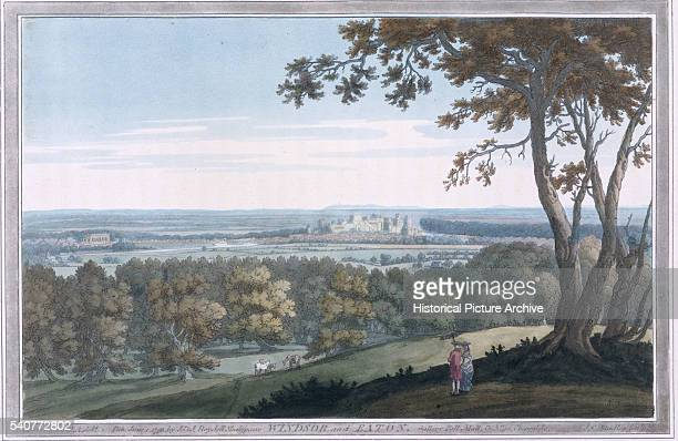A hand colored print of Windsor and Eton England