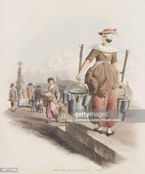 Hand coloured aquatint from 'The Costume of Great Britain' a book containing 60 images of people at work and scenes of everyday life The image shows...