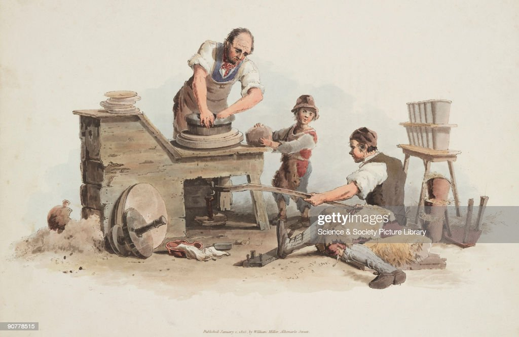 Hand coloured aquatint from 'The Costume of Great Britain' a book containing 60 images of people at work and scenes of everyday life A potter is...