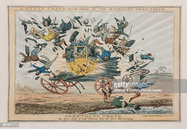 Hand coloured caricature engraving showing a steampowered coach exploding hurling its passengers in all directions At this time steamdriven travel...