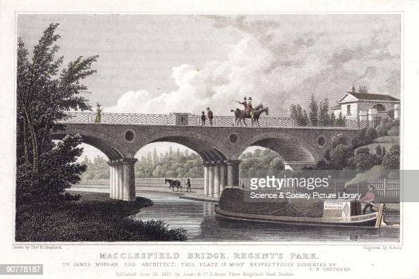 Hand coloured engraving by R Acon after an original drawing by Thomas Shepherd showing Macclesfield Bridge over the Regent�s Canal The Bridge was...