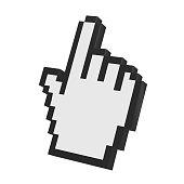 Hand Cursor isolated on white background. 3D render