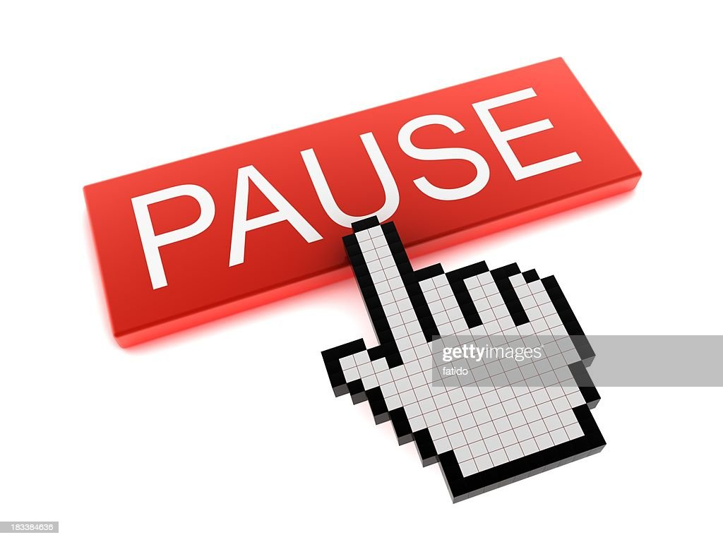 Hand Cursor on Pause Button : Stock Photo