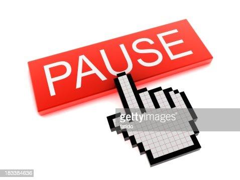 Cursore a forma di mano sul pulsante Pause (PAUSA