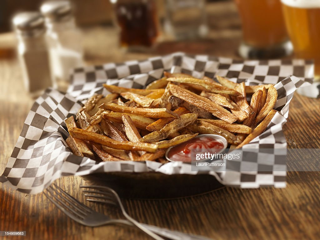 Hand Cut French Fries with a Couple of Beers