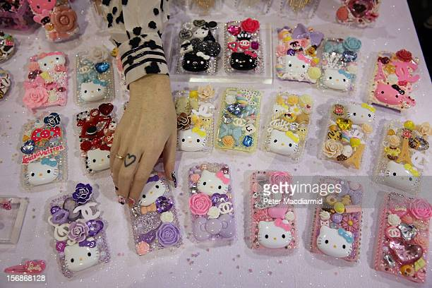 Hand decorated iPhone covers are displayed at The Hyper Japan event at Earls Court on November 23 2012 in London England The show is the UK's biggest...
