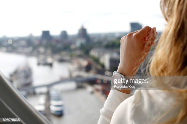 Hand detail at the Bell Ross Cocktail Party at Elbphilharmonie show apartment on June 14 2017 in Hamburg Germany