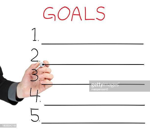 Hand drawing a diagram with 5 goals