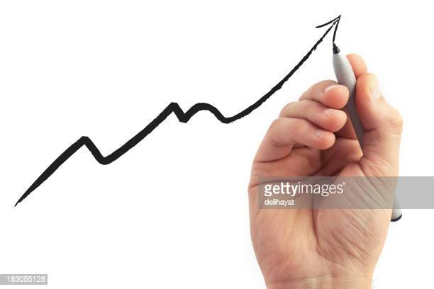hand drawing a graph on white background