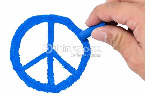 Mano Disegno Di Colore Blu Simbolo Della Pace Foto Stock Thinkstock
