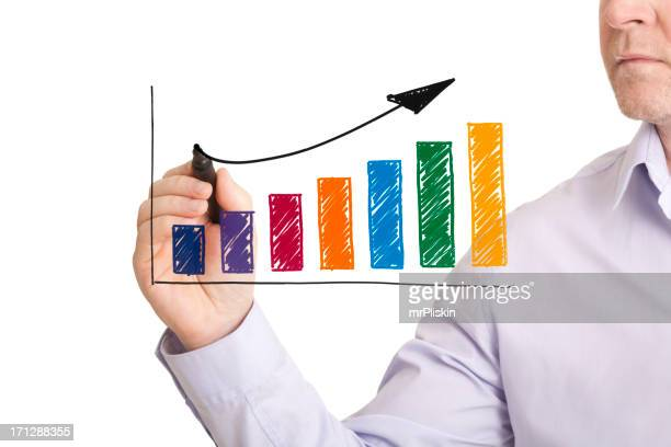 Hand drawn colourful profit growth chart