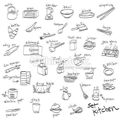 Disegnati a mano set di oggetti in cucina disegni e for Oggetti di cucina