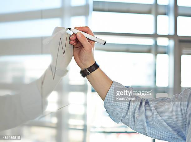 Hand draws graph on whiteboard