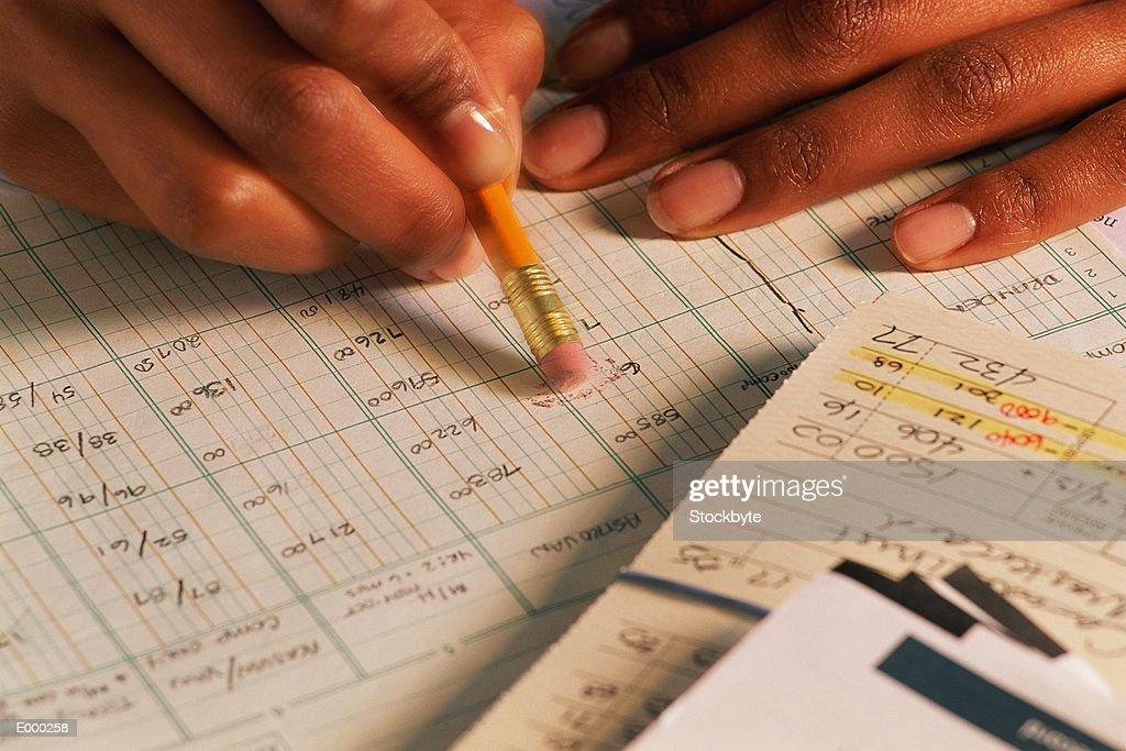 Hand erasing entry from spreadsheet