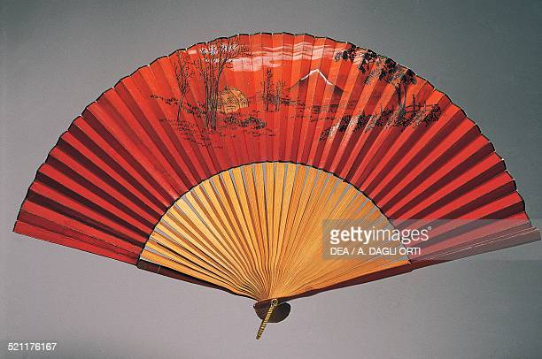 Hand fan depicting Mount Fuji painted paper and bamboo ribs 19101920 Japan 20th century Japan