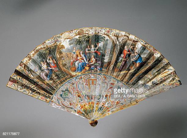 Hand fan with allegories of the four seasons goatskin leaf and mother of pearl ribs 17301740 front France 18th century Trieste Civico Museo Sartorio...
