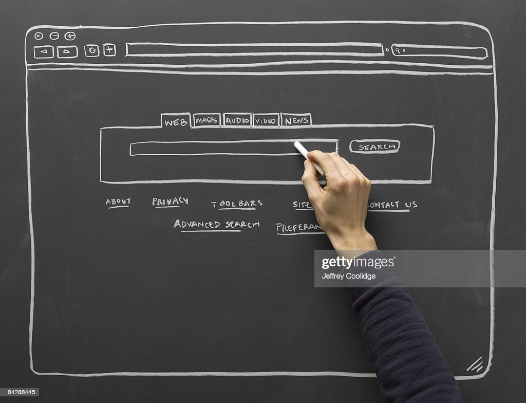 hand filling in diagram of search window : Stock Photo