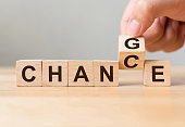 Hand flip wooden cube with word 'change' to 'chance', Personal development and career growth or change yourself concept