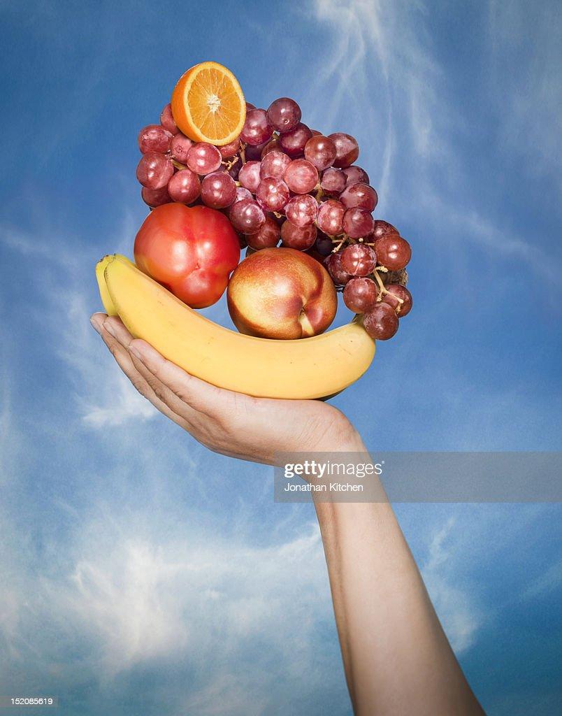 Hand Fruit Basket : Stock Photo