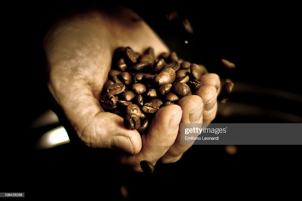Hand full of coffee