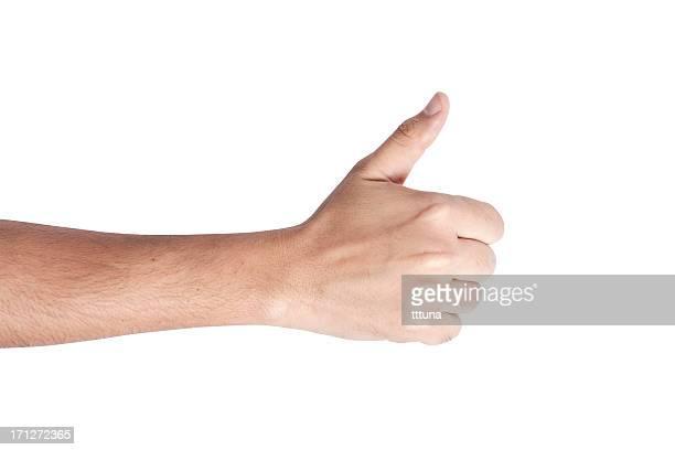 Pouce levé la main montrant main signe geste sur un arrière-plan blanc