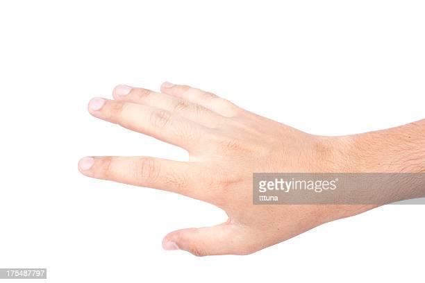 En attrapant, geste de la main montrant main geste sur un arrière-plan blanc