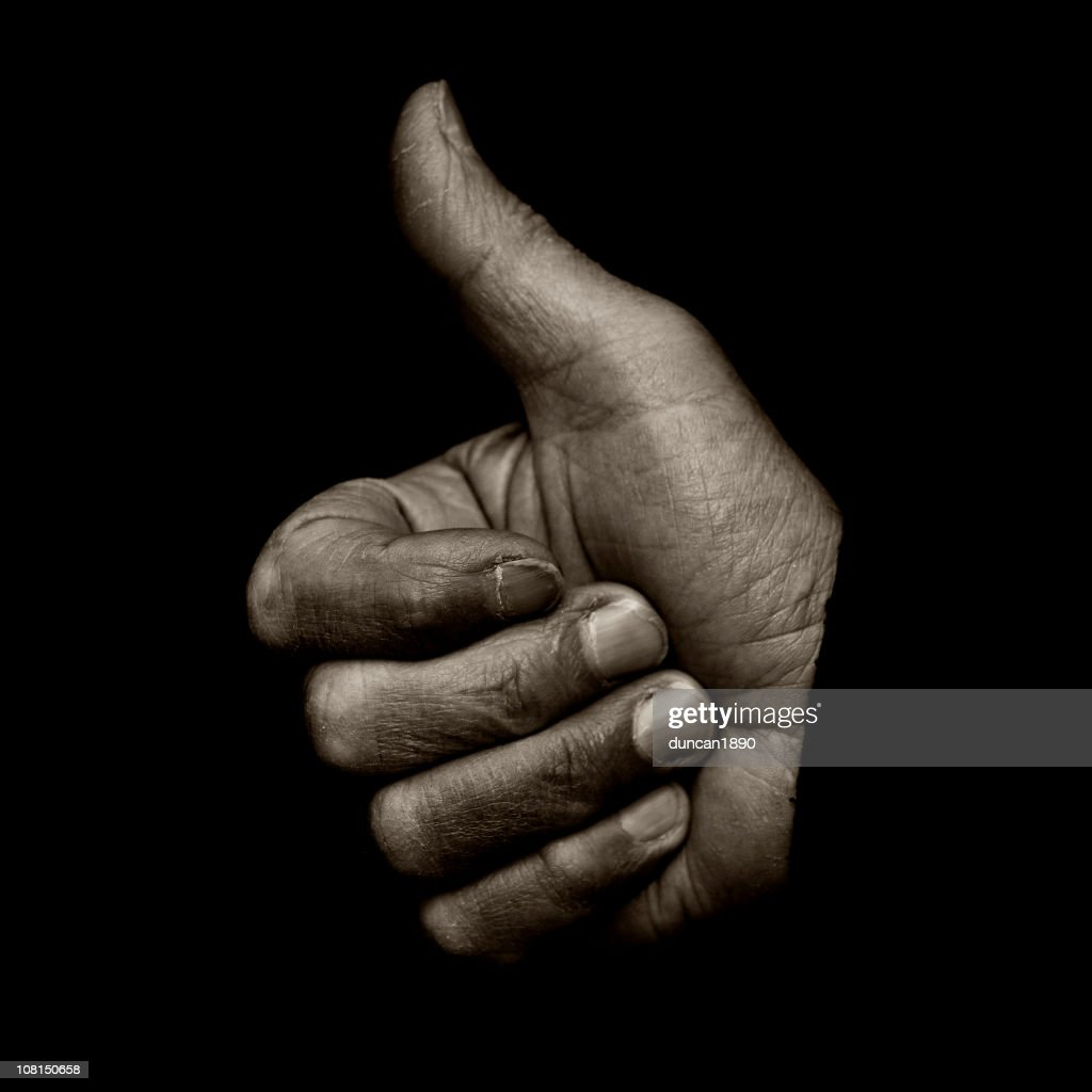 Hand Giving Thumbs Up Gesture, Black and White