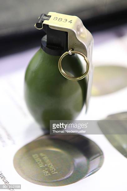 M52 hand granade is displayed at a press conferece after an unknown assailant threw a live hand grenade to a migrant shelter at the night before on...