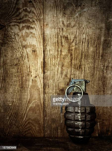 hand grenade on wooden background