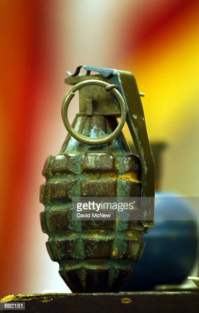 A hand grenade owned by David Reza who was arrested January 8 2002 after alledgedly threatening to kill former coworkers from the San Onofre Nuclear...