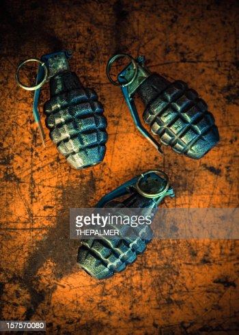 hand grenades on orange background