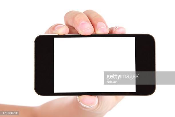 Hand holding leeren Bildschirm Smartphone auf weißem Hintergrund