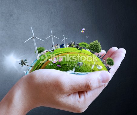 hand holding a city : Stock Photo