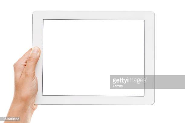 Hand holding a digital tablet with empty display