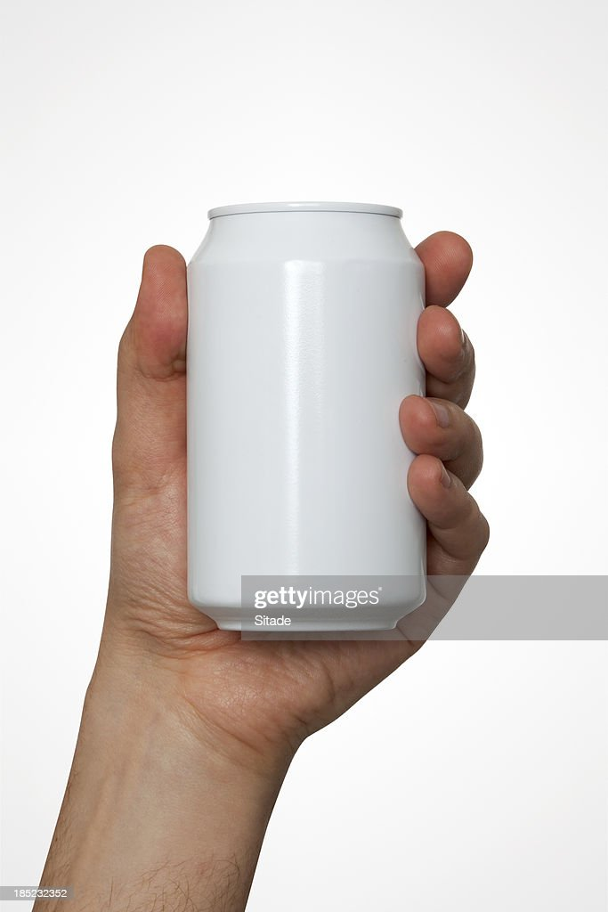 Hand Holding A Drink Can With Clipping Path : Stock Photo