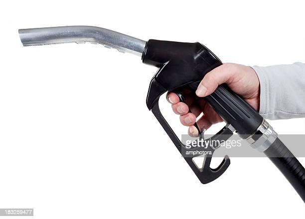 Hand holding a gas pump