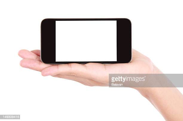 Hand holding a mobile device