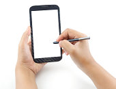 Hand holding and note on Black Smartphone with blank screen on white background